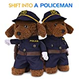 Pawaboo Pet Costume, Funny Pet Dog Cat Clothes Cool Policeman Uniform Outfit Jumpsuit Clothes with Policeman Hat for Halloween Christmas Dressing Up, Medium Size, Indigo