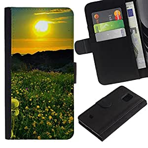KingStore / Leather Etui en cuir / Samsung Galaxy S5 Mini, SM-G800 / Sunset Beautiful Nature 42