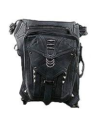 SmartHS PU Leather Motorcycle Lady Bag Steampunk Shoulder Waist Bag Thigh Holster Bag Black