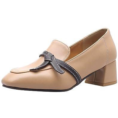 c03b74b6c56 KemeKiss Women Chunky Heels Pumps Office Formal Shoes Square Toe Slip On  Pumps Thick Heels Dress
