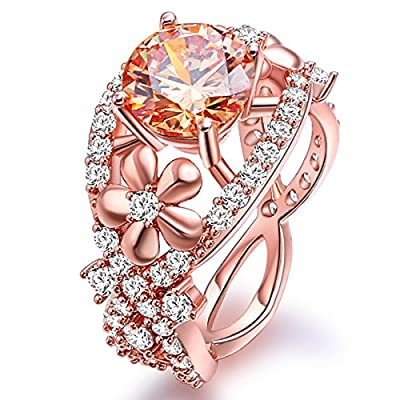 Jiangyue Lady Elegant Champagne Rings AAA Cubic ZirconiaRose Gold Plated Flower Shaped Party Jewelry Mother 's Day Gift Size 5-10