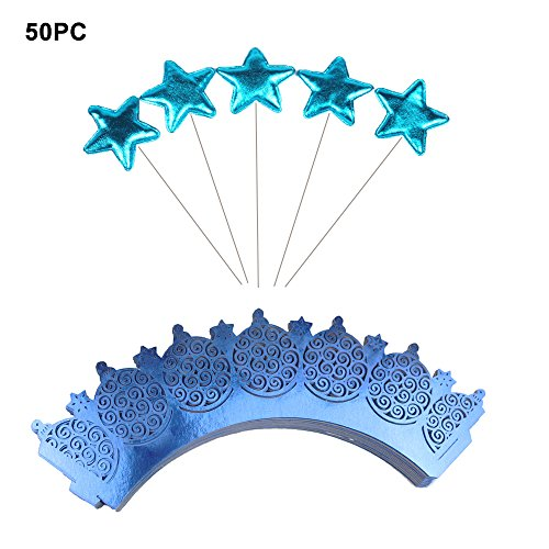 50 pcs Cupcake Wrapper Lace + 50 pcs Star Shape Cupcake Topper Dessert Decoration Sticks (BLUE),Laser Cut Cupcake Liners for Weddings Birthdays Tea Parties and any Special Event by XWYL
