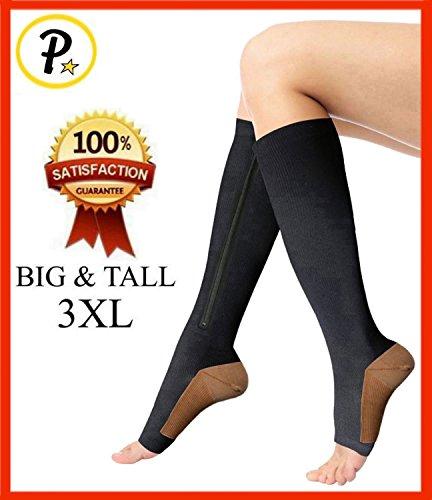 Tall Zipper (Presadee (BIG & TALL 3XL) 20-25 mmHg Zipper Compression Copper Infused Helps Reduce Swelling Anti-Fatigue Traveling Socks)