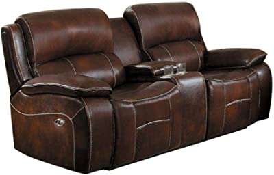 Mojarro Power Double Reclining Love Seat in Brown Top Grain Leather