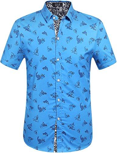 (SSLR Men's Shark Print Casual Button Down Short Sleeve Shirt (Medium, Gentian Blue))