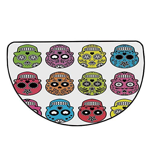 Skull Comfortable Semicircle Mat,Ornate Colorful Traditional Mexian Halloween Skull Icons Dead Humor Folk Art Print for Living Room,39.3