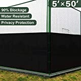 backyard fence ideas Coarbor 5' x 50' Privacy Fence Screen with Brass Grommets Heavy Duty 140GSM Pefect for Outdoor Back Yard Patio and Deck Black