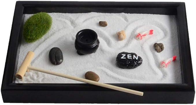 LIOOBO Mini Meditación Mesa de Arena Zen Paisaje en Miniatura Caja de Arena Jardín Zen con Rocas Caja de Arena Adorno de Escritorio: Amazon.es: Jardín