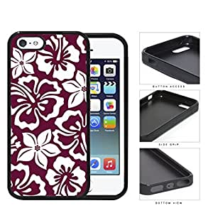 Burgundy Red Hawaiian Floral Pattern Rubber Silicone TPU Cell Phone Case Apple iPhone 5 5s