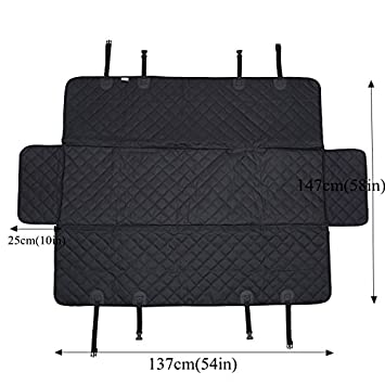 HCMAX Dog Car Seat Cover Pets Hammock Convertible Cover 600D Heavy Duty Waterproof Backseat Protector Covers for Car SUV Truck