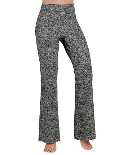 ODODOS Power Flex Boot-Cut Yoga Pants Tummy Control Workout Non See-Through Bootleg Yoga Pants,CharcoalHeather,Medium