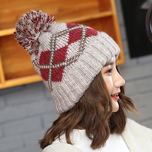 Gift Knitted Gorro For Ball Gris Warmer Winter Geometric Caps Hair Girl Beanie New Bonnet Ladies Thick Fashion Ahuiopl gray Ear Skullies Hats nTUgWq6