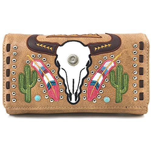 Justin West Native Longhorn Cow Skull Cactus Feather Color Conceal Carry Shoulder Handbag Purse | Trifold Wallet (Tan Wallet Only) ()