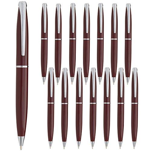 Estrella (15 Pack) Twist Pens Medium Point Ballpoint Pens Retractable Metal Ink Office Supplies by Estrella