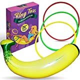 "Inflatable Banana Ring Toss Bachelorette Party Game - Bridal Shower Games, Decorations and Supplies for Engagement Parties, Girls Night Out and Bride To Be Favors - 26"" Banana with 3 Rings for Tossing"
