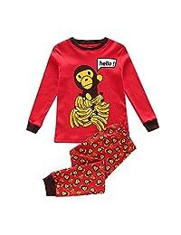 Boy Pajama Monky and Banana Children Pjs Kid Rib Long Sleeves Cotton Clothes Set