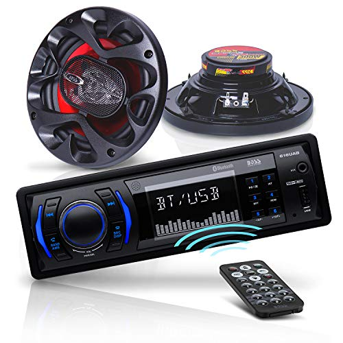 BOSS Audio Systems CH616 Car Stereo & Speakers Package – Bluetooth Audio and Hands-Free Calling, MP3, USB, Aux-in, No CD/DVD, AM/FM Radio, Two 6.5 Inch Speakers