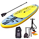 Goplus Inflatable 11' SUP Stand Up Paddle Board Package w/ 3 Fins Adjustable Paddle Pump Kit Carry Backpack, 6' Thick