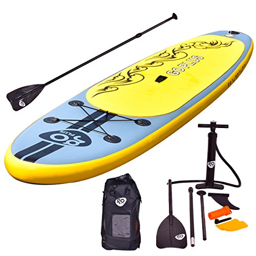 Goplus 11' Inflatable Cruiser Stand Up Paddle Board iSUP Package w/ 3 Fins Adjustable Paddle Pump Kit Carry Backpack, 6