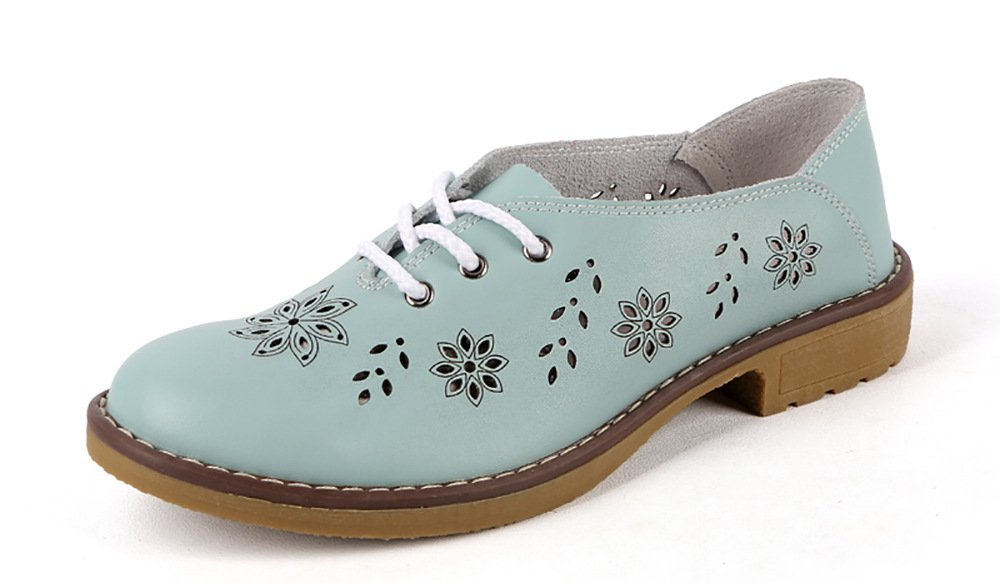 Vivident Women Brogue Genuine Leather Flats Loafer Casual Ladies Designer Oxford Shoes Lace Up Fashion Handmade Sky Blue
