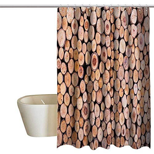 - Rustic Home Decor Home Decor Shower Curtain by Mass of Wood Log Forest Tree Industry Group of Cut Lumber Circle Stack Image 100% Waterproof & Antibacterial 72
