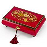 Radiant 18 Note Italian Red Wine Floral Inlay Musical Jewelry Box with Lock and Key - There is No Business Like Show Business