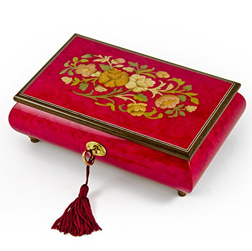 Radiant 18 Note Italian Red Wine Floral Inlay Musical Jewelry Box with Lock and Key - O Holy Night by MusicBoxAttic