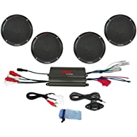 Pyle PLMRKT4B 4 Channel 800 Watt Waterproof Micro Marine Amplifier and 6.5-Inch Speaker System