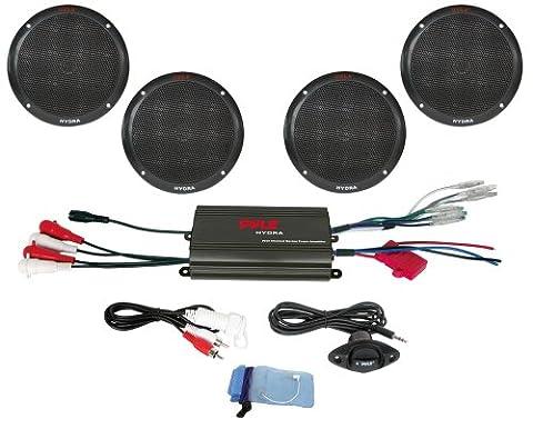 Pyle PLMRKT4B 4 Channel 800 Watt Waterproof Micro Marine Amplifier and 6.5-Inch Speaker System (Crossover 8 Ohm Speaker 2 Ohm)