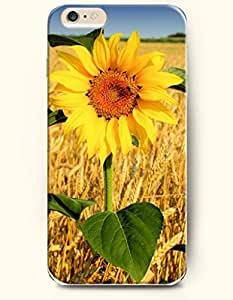 Phone Case for iPhone 6 Plus 5.5 Inches with the Design of A bright sunflower in the golden wheat field