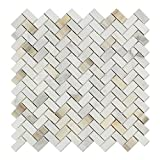 Calacatta Gold (Italian Calcutta) Marble Mini Herringbone Mosaic Tile, Honed