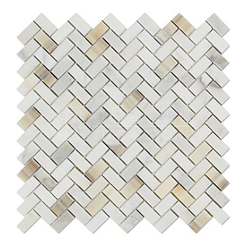Calacatta Gold (Italian Calcutta) Marble Mini Herringbone Mosaic Tile, Polished