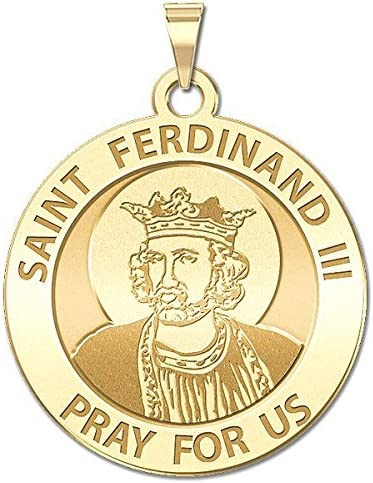 3//4 Inch Size of a Nickel 14K White Gold PicturesOnGold.com Saint Ferdinand III Religious Medal