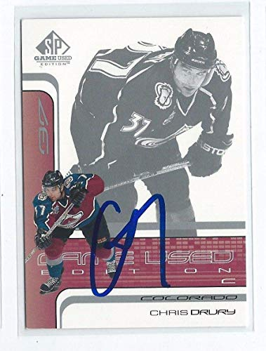 - Chris Drury Signed 2001/02 SP Game Used Card #11 - Autographed Other Game Used NHL Items