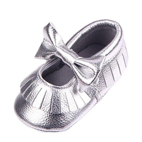 Nubuck Suave Zapatos De Cuero Primeros Pasos De Bucle Cordón Para Bebé Niños Lindo Antideslizante - Plata, 11 Plata