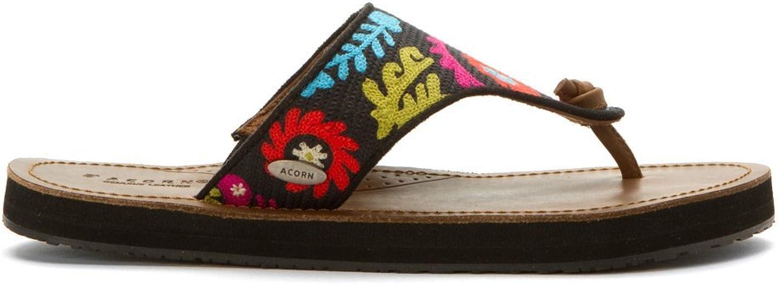 43d1dabfd Amazon.com | Acorn Women's ArtWalk Leather Flip Multi Suzani Sandal ...