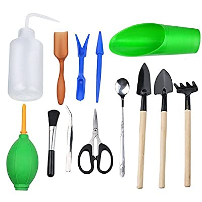 WElinks 13Pcs Mini Gardening Hand Tools Sets, Miniature Planting Gardening Tool for Succulent Transplanting Small Flower Plants,Indoor Fairy Garden Plant Care Kits
