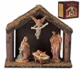 Holy Family Nativity Set with Wood Stable Home Chapel Christmas Statue Decoration