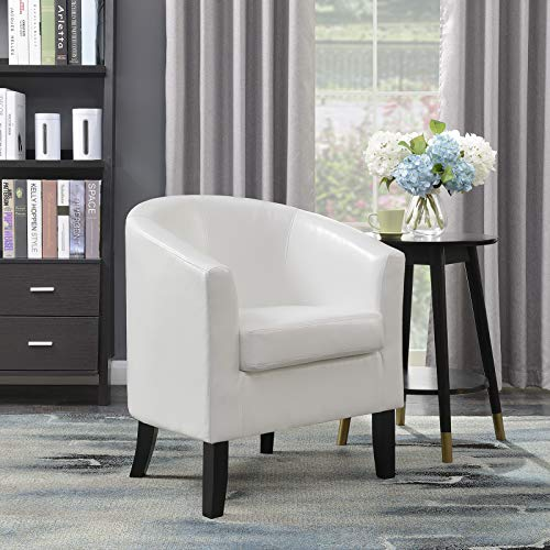 Belleze Club Chair Tub Faux Leather Armchair Seat Accent Living Room, White (Sale Armchairs Small For Leather)