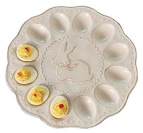 Burton & Burton Easter Deviled Egg Plate Cream with Raised Distressed Bunny Design