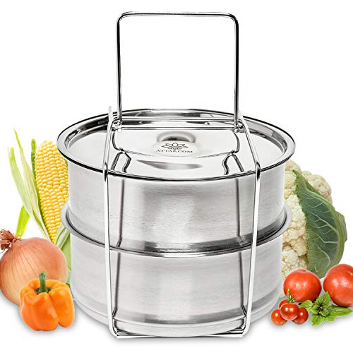ATTA5 Pans for Instant Pot with Handle - Advanced NIRVANA Air Channel Technology Creates Delicious, Perfectly Cooked Meals - Heavy-Duty Stainless Steel Pot in Pot Stackable Inserts ()