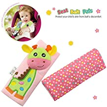 TOLOLO 1 Pair Cartoon Animal Soft Kids Infant Safety Belt Cover Seat Strap Cover Shoulder Pad Cushion (Giraffe)