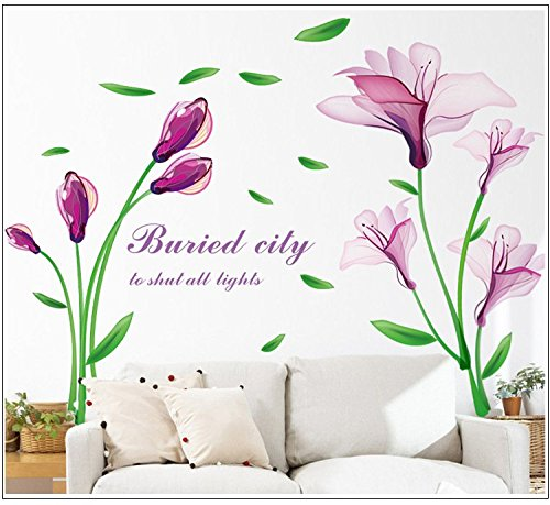 LiveGallery Beautiful Lovely Lily Flowers Wall Decals Removable DIY Butterfly Flower Vines Art Decor Wall Stickers Murals for Living Room TV Background Kids Gilrs Rooms Bedroom