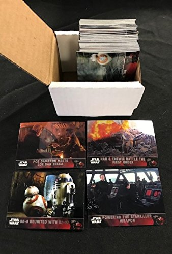 2016 Topps Chrome Star Wars The Force Awakens Episode 7 (VII) Complete Hand Collated Non Sport Set of 100 Cards. Includes an amazing selection of scenes from the major motion picture on Topps unique chrome technology. from 2016 Topps Chrome The Force Awakens