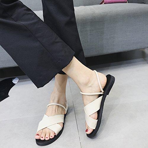De Casual Maneras Antideslizantes Vestir Fashion Dos Punta Con Sra Summer Abierta A Sandalias Playa Ymfie 70xwUS57