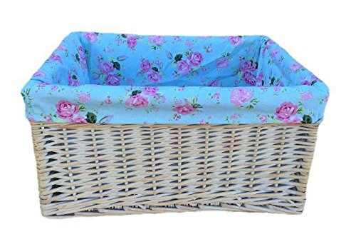 Large White Wash Cottage Rose Lined Storage Basket by Red Hamper