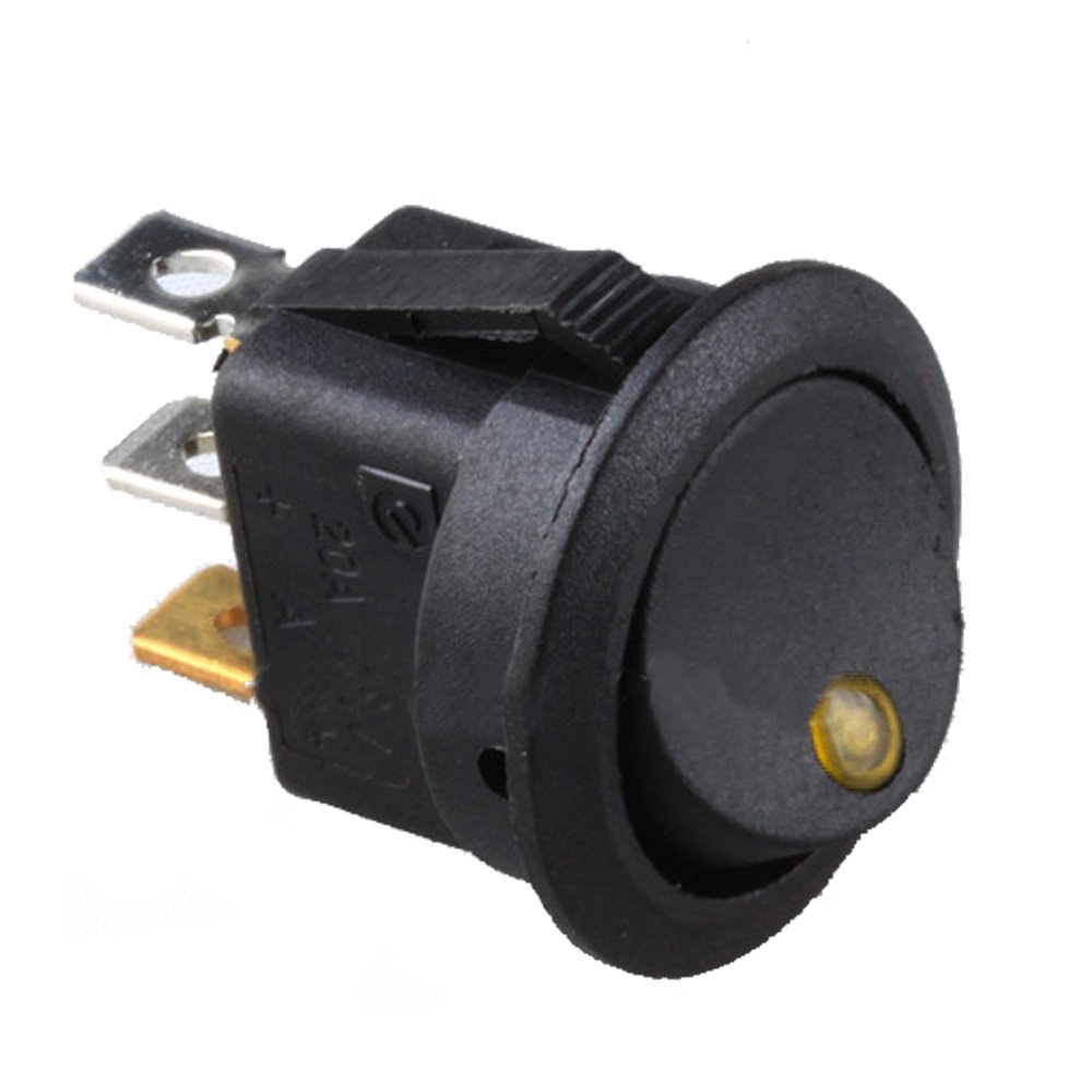 HOUTBY 20Pack Car Boat Push Rocker Toggle Switch Blue Red Green YellowLED Light Control 12V 16A 3Pin