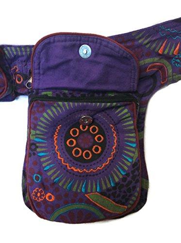 Boho Fanny Waist Pack Money Belt Purple Multi-Color Hip Bag Travel Bum Drop Leg Pouch Cotton NEPAL by Rising International (Image #2)