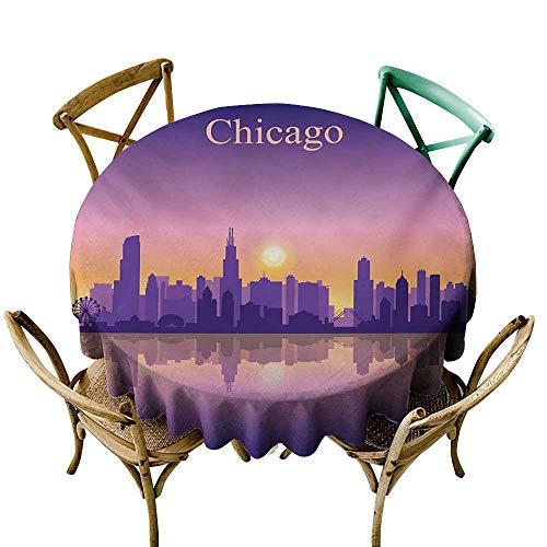 Wendell Joshua Vinyl Tablecloth 54 inch Chicago Skyline,Sunset