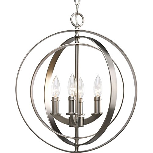 Progress Lighting P3827-126 4-Light Sphere Foyer Lantern with Pivoting Interlocking Rings, Burnished Silver ()